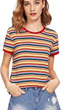 SheIn Women's Tie Dye Print Round Neck Short Sleeve Crop T-Shirt Top