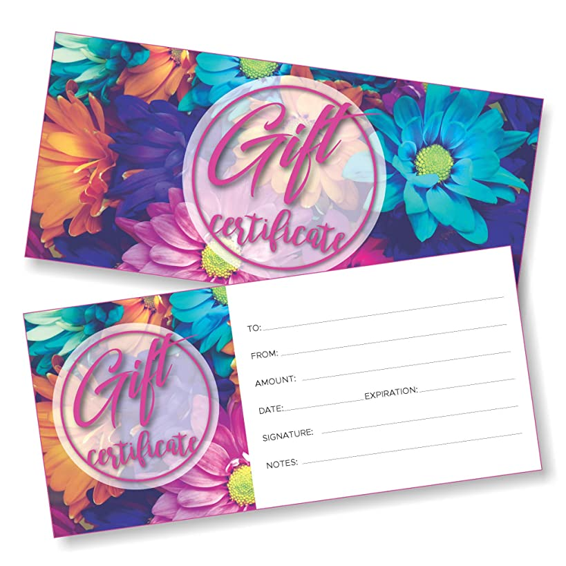 25 Blank Gift Certificates for Business - Flower - Size 4