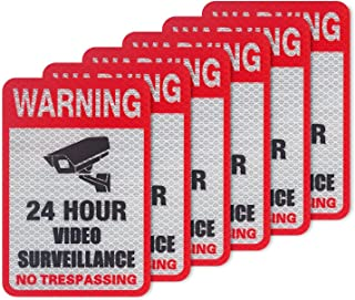 "Kichwit 6-Pack Video Surveillance Sign Reflective Sticker Decal Self Adhesive 5.9"" x 4"", UV Protected & Waterproof, Indoor & Outdoor Use"