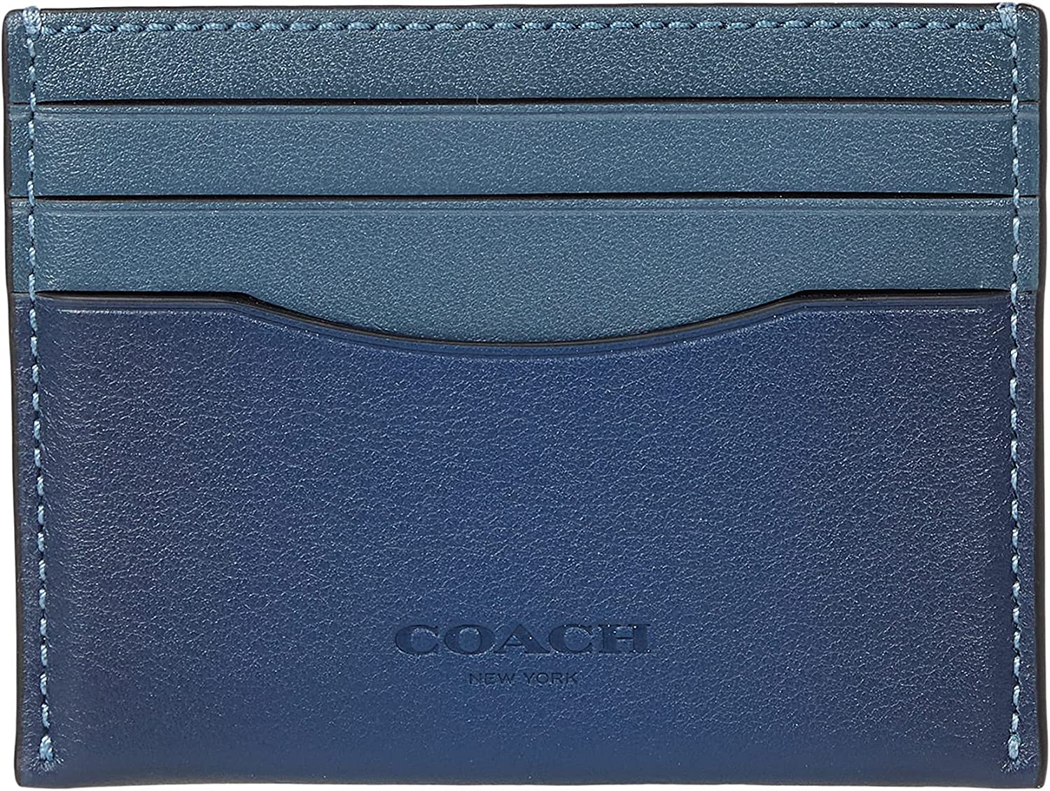 COACH store Flat Card Case Leather Max 47% OFF Blue Size Prussian One Deep
