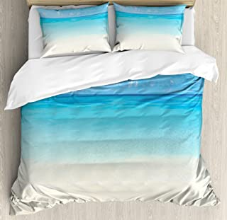Ambesonne Ocean Duvet Cover Set, Paradise Beach in Tropical Caribbean Sea with Sky View Beach House Theme, Decorative 3 Piece Bedding Set with 2 Pillow Shams, Queen Size, Cream Navy