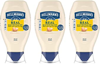 Hellmann's Real Mayonnaise For a Creamy Condiment Real Mayo Squeeze Bottle Gluten Free, Made With 100% Cage-Free Eggs 20 o...
