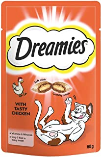 Dreamies -Golosinas para gatos, sabor: Pollo, 60 g (Pack of 8)