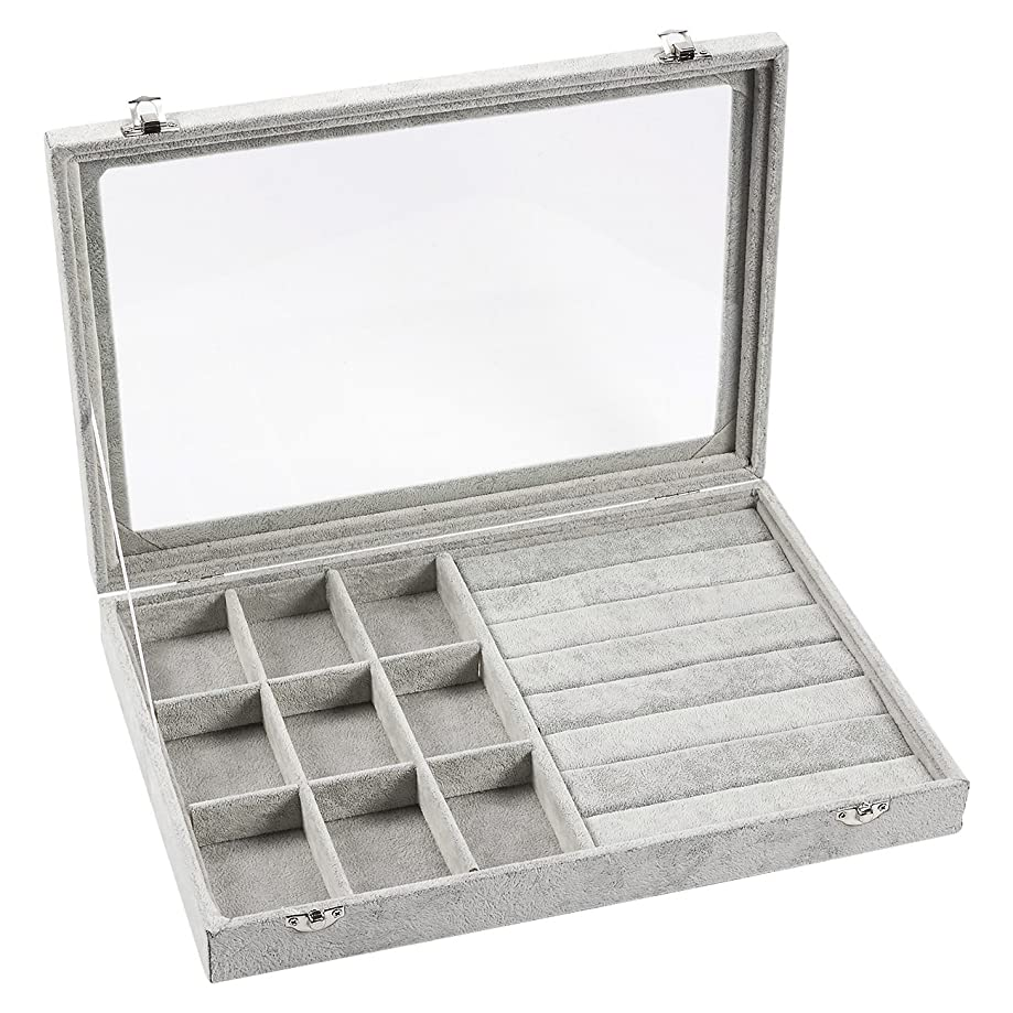 Jewelry Box – Stackable Display Case, Jewelry Organizer Tray, Storage Box for Necklaces, Earrings, Bracelets with Transparent Glass Top, 9 Compartments, 7 Slots, Grey - 13.75 x 2 x 9.5 Inches