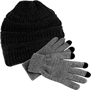 TUPARKA Women Hat Knit Skull Beanie Winter Outdoor Runner Messy Bun Ponytail Cap with 1 Pair Touch Screen Gloves
