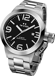 TW Steel Canteen Unisex Quartz Watch with Black Dial Analogue Display and Silver Stainless Steel Bracelet CB1