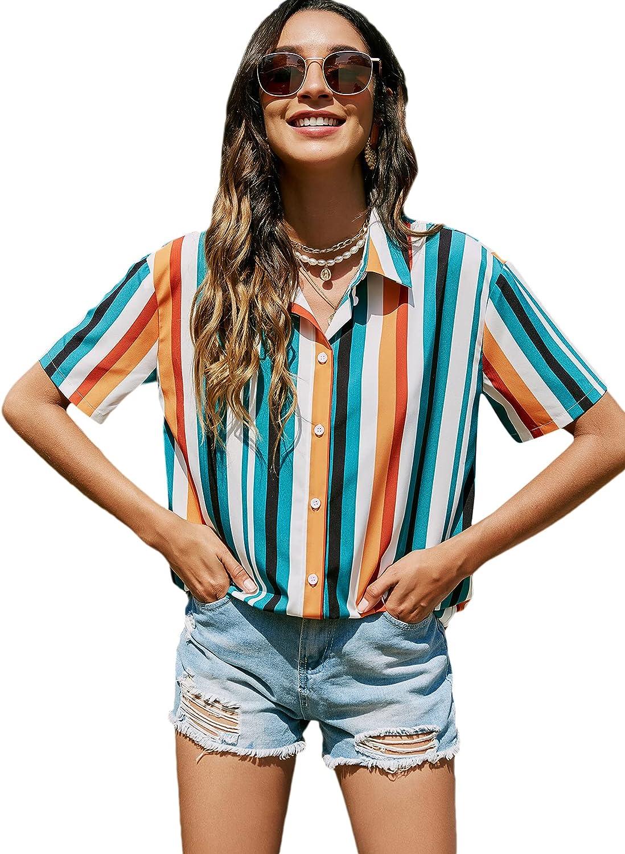 Verdusa Women's Striped Short Sleeve Collar Button Down Shirt Top Blouse