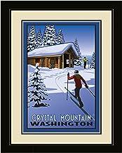 لوحة فنية جدارية مؤطرة من Northwest Art Mall PB-6568 LFGDM CCC Crystal Mountain Washington Cross Country Cabin مقاس 20 × 26