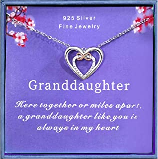 Gift for Granddaughter Sterling Silver Infinity Heart Necklace from Grandmother/Grandma Gifts for Girls, Best Birthday Gif...