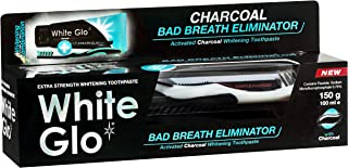 White Glo Charcoal Bad Breath Eliminator Whitening Toothpaste, Highly Absorbant Activated Charcoal Particles Attract and R...