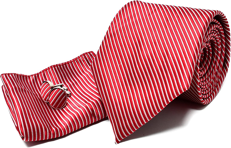Corbata de hombre, Pañuelo de Bolsillo y Gemelos Rojo a Rayas - 100% Seda - Clásico, Elegante y Moderno - (Caja y Conjunto de Regalo, ideal para una ...