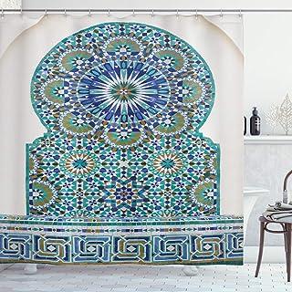 ABAKUHAUS Moroccan Shower Curtain, Eastern Ceramic Tile, Cloth Fabric Bathroom Decor Set with Hooks, 175 cm x 180 cm, Pale...