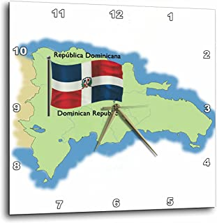 3dRose Map and Flag of The Dominican Republic with Dominican Republic in Both English and Spanish - Wall Clock, 13 by 13-Inch (dpp_46646_2)