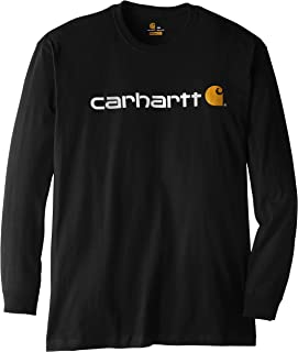 c80a79edc34a Carhartt Men's Big & Tall Signature Logo Midweight Jersey Long Sleeve T- Shirt