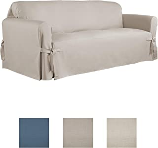 Serta | Relaxed Fit Durable Woven Linen Canvas Furniture Slipcover (Sofa, Khaki)