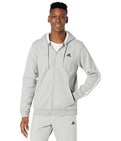 adidas Winter Fleece 3-Stripes Full Zip Hoodie (Medium Grey Heather/Cream White) Men