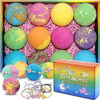 Bath Bombs for Kids with Surprise Inside for Girls Boys - 12 Pcs XXL Large Size Gift Set, Surprise Unicorn Necklace Bracel...