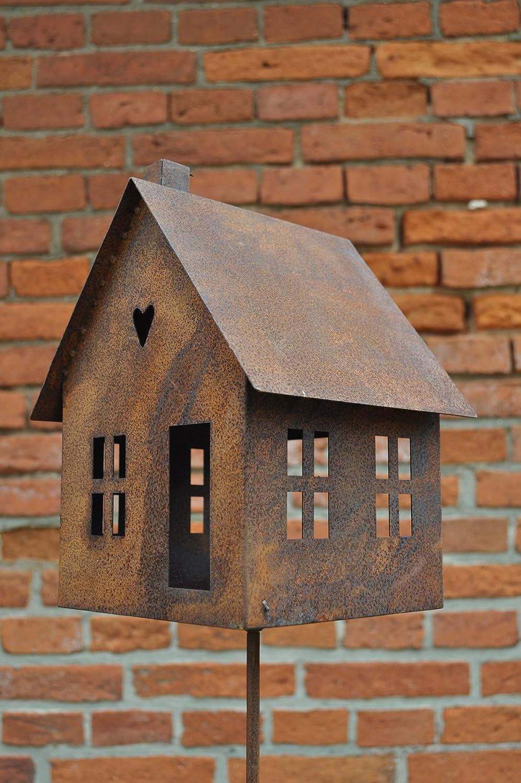 Round, rusty metal, standup decorative bird house feeder