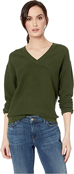 0ad62709 Lacoste classic cotton v neck sweater + FREE SHIPPING | Zappos.com