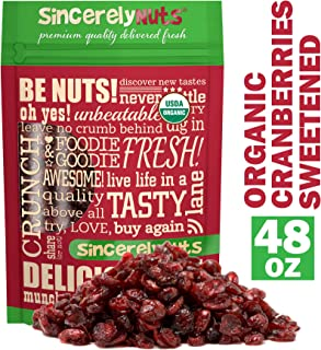 Sincerely Nuts Certified Organic Dried Cranberries - Three Lb. Bag - Mouth-watering Taste - Incomparable Freshness - Incredibly Nutritious - Kosher Certified