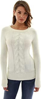 PatttyBoutik Women's Crewneck Cable Knit Pullover Sweater