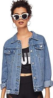 SweatyRocks Women's Casual Long Sleeve Button Down Boyfriend Denim Jacket