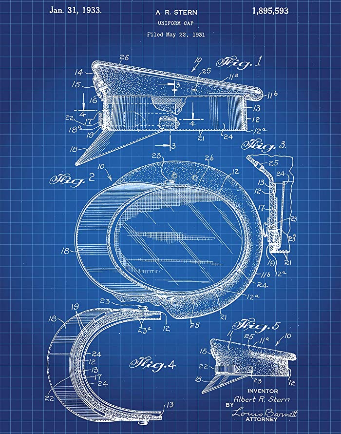 Police Cap Patent Wall Art Print - one (11x14) Unframed - wall art decor for police officers