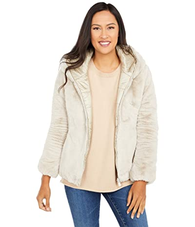 Save the Duck Reversible Faux Fur Hooded Short Jacket (Shell Beige) Women