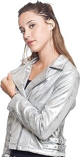 CUT OUT Chamarra para Mujer con Solapas, Bolsas Laterales y Hebillas en Cintura Color Plateado