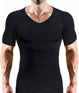 Hoter Mens Slim and Tight Super Soft Compression & Slimming Shaper V-Neck Compression Shirt