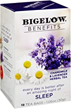 Bigelow Benefits Sleep Chamomile Lavender Caffeine-Free Herbal Tea, 18 Count (Pack of 6),..