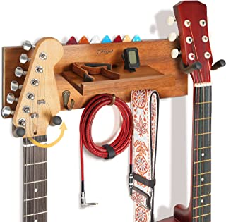 Guitar Wall Mount with 2 Rotatable Rubber Hook, Wood...