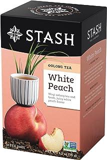Stash Tea White Peach Wuyi Oolong Tea 18 Count Tea Bags in Foil (Pack of 6) Individual Oolong Black Tea Bags, Use in Teapo...