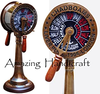 18'' Antique Brass Ship's Engine Order Telegraph Nautical Decorative Collectible