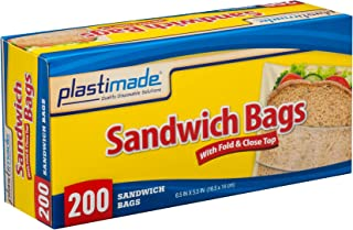 Plastimade Disposable Plastic Sandwich Bags With Fold Close Top 200 Bags, Great For Home, Office, Vacation, Traveling, Sandwich, Fruits, Nuts, Cake, Cookies, Or Any Snacks (1 Pack)