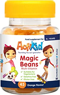 ActiKid Magic Beans Multivitamin 45x Orange Flavour. Gelatine Free. Vitamins for children. Fortalecimiento