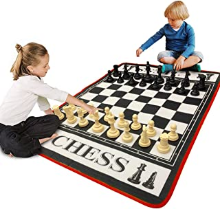 EasyGo Giant 3' X 4' Mat Chess Game – Indoor Outdoor Family Game – Lawn Game –Piece Range from 3-6