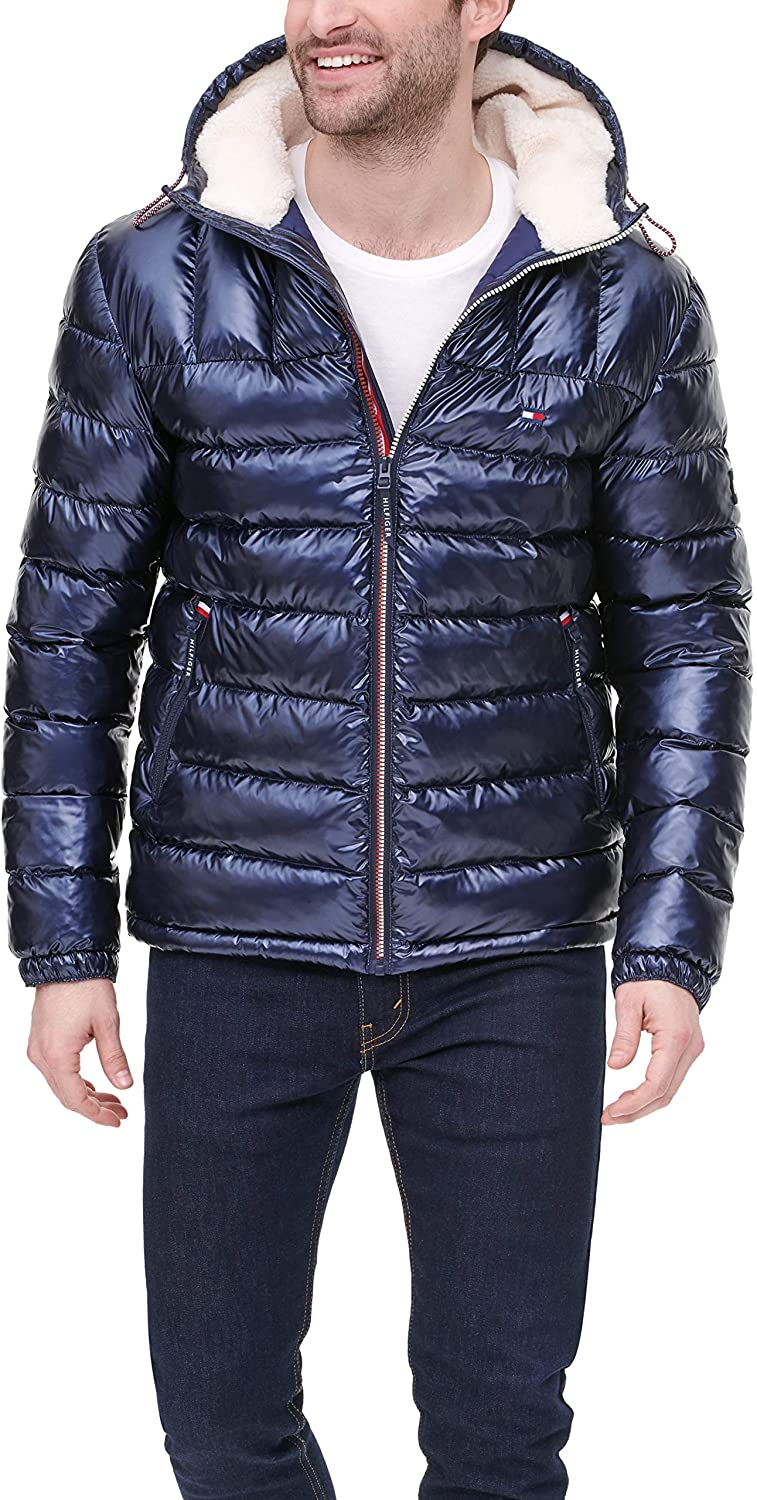Tommy Hilfiger Men's Midweight Sherpa Lined Hooded Water Resistant Puffer Jacket