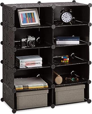 Relaxdays Étagère cubes rangement penderie armoire compartiments plastique chaussures modulable, noir