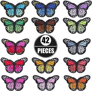 Stickerei Schmetterling Patches, 42 Stück Schmetterling Stickerei, Aufnäher Stickerei, Aufnäher Patches Jean-Patche für Jeans, Jacken, Kinderbekleidung, Tasche, Mützen, Kunsthandwerk Reparatur Patch