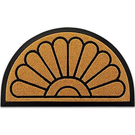 """Outdoor Door Mat by JeemeeSpace, Half-Circle Rubber Doormat, Durable Welcome Doormat for Entry, Patio, Backyard & Home, Heavy Duty & Capture Dirt (18"""" x 30"""", Brown)"""