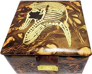 100% Egyptian Hand Made Genuine Leather Jewelry Box Pharaoh Accessories Handcrafted Handmade Hieroglyphics King Tut Egypt ...