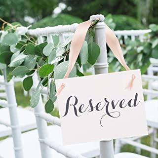 2 Reserved Signs Wedding Chair Seat Banners for Party or Event | Reserve Seating Handmade Signage for Family or VIP Guests | Slate Gray Ink & Blush Ribbon White Linen Texture Cardstock