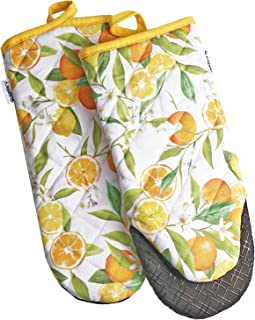 Sugelary Oven Mitts, Heat Resistant up to 500F Kitchen Mittens, Non-Slip Grip Oven Gloves with Silicone Stripes and Quilte...