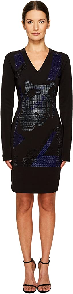 Versace Jeans Long Sleeve V-Neck Printed Dress