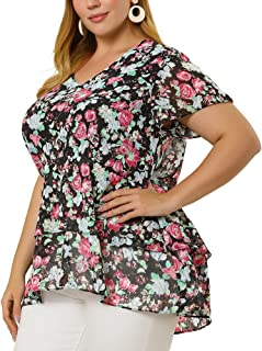 Agnes Orinda Plus Size Top for Women V Neck Floral Print Bell Sleeve Tiered Peplum Blouses