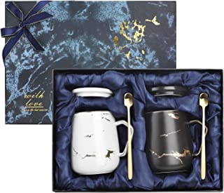 Wisolt 2Pcs Ceramic Mugs, Coffee Cups Coffee Mug and Saucer Sets, Marble Coffee Mug Set for Wedding Valentines Gifts