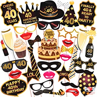Wobbox 40th Birthday Photo Booth Party Props Brown & Golden Glitter, Birthday Party Decoration, Birthday Party Item