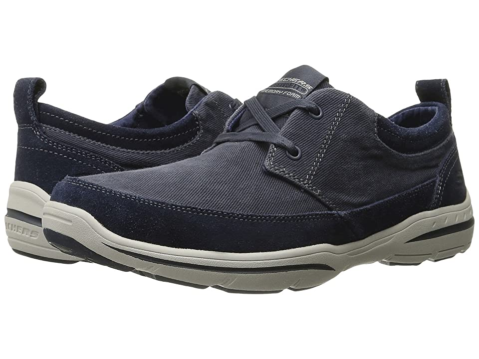 SKECHERS Relaxed Fit(r): Harper Lenden (Navy Suede/Canvas) Men