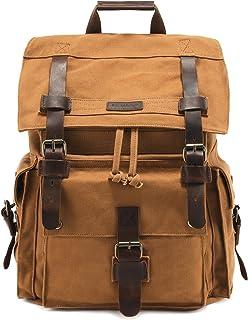 "Kattee Men's Leather Canvas Backpack Large School Bag Travel Rucksack for 17"" Laptop (Khaki)"